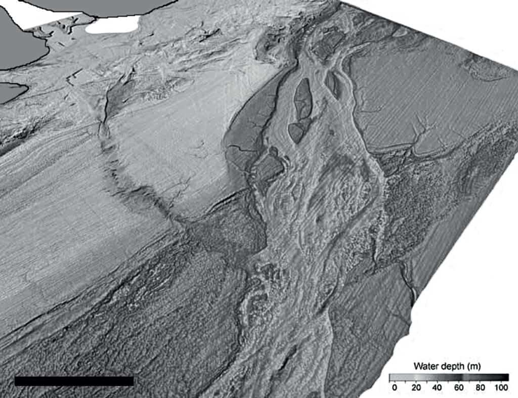 Vue au sonar en perspective de la vallée de débâcle située au fond de la Manche